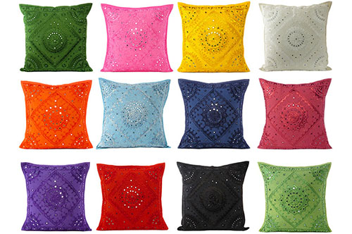 Pakka Mirror Pillows, Embroidered Mirror Cushions